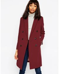 ASOS - Coat With Double Breasted Detail In Bonded Cloth - Lyst