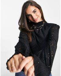 Lipsy Blusa accollata e arricciata nera - Nero