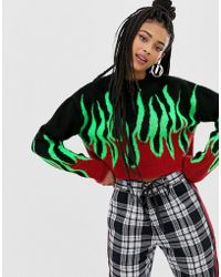 a759ad7e00 Hot Collusion - Cropped Sweater With Flame - Lyst