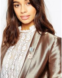 ASOS Pack Of 2 Crystal Brooches - Metallic