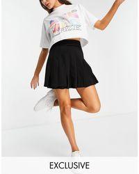 Collusion Wrap Pleated Mini Skirt - Black