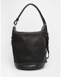 ASOS Croc Slouch Shoulder Bag - Black