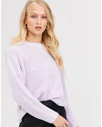ONLY – Gerippter, gestrickter Pullover - Lila