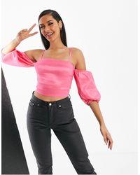 Naanaa Satin Puff Sleeve Crop Top - Pink