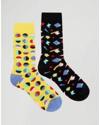 Urban Eccentric Geo Socks In 2 Pack - Multicolor