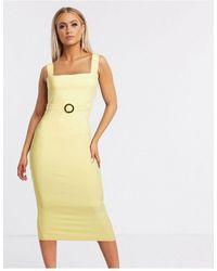 Vesper Желтое Платье Мидакси С Поясом -желтый