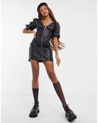 Bershka Puff Sleeve Faux Leather Dress - Black