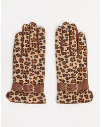 Barneys Originals Barney's Originals – Hellbraune Handschuhe aus echtem Leder mit Schnallendetails und Leopardenmuster