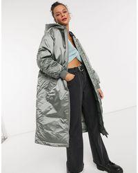 ASOS Longline Oversized Hooded Puffer Coat - Green