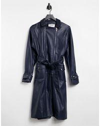 4th & Reckless Trench-coat en imitation cuir - Bleu