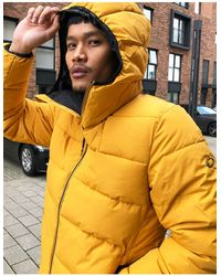Pull&Bear Padded Puffer Jacket With Hood - Yellow