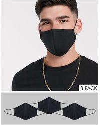 ASOS – 3er Pack Gesichtsmasken aus schwarzem Jersey