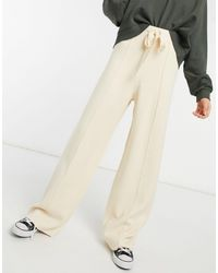 Stradivarius Wide Leg Knitted Lounge Trouser - Natural
