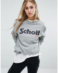 Schott Nyc - Chott Sweat Jumper With Front Logo - Lyst