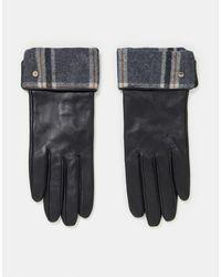 Paul Costelloe - Черные Кожаные Перчатки С Отворотом В Клетку -черный Цвет - Lyst