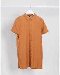 Vero Moda Short Sleeve Shirt Dress - Brown