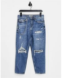 Pull&Bear Relaxed Fit Jeans With Chain And Rips - Blue