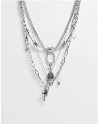 ASOS Collana multifilo con pendenti e catene argento brunito - Metallizzato