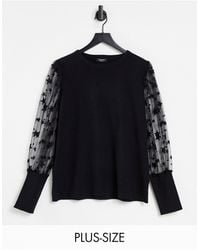 Simply Be Jumper With Mesh Star Detail Sleeves - Black