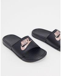 Nike Benassi Black And Rose Sliders - Metallic