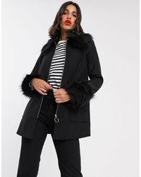Miss Selfridge - Faux Fur Trim Duffle Coat - Lyst