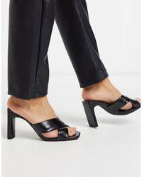 Bershka Crossover Padded Heeled Sandal - Black