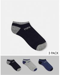 Pepe Jeans Anthony 3 Pack Trainer Socks - Blue