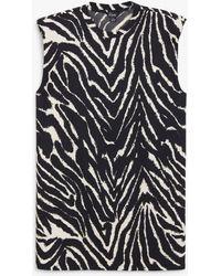 Monki Платье-футболка Мини Из Органического Хлопка С Подплечниками И Принтом Зебры Alvina-многоцветный - Черный