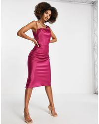 Trendyol Vestido con cuello desbocado - Rosa