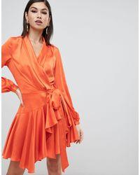 Forever Unique Satin Wrap Dress - Orange
