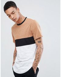 ASOS - Relaxed Longline Roll Sleeve T-shirt With Colour Block In Interest Fabric In Rust - Lyst