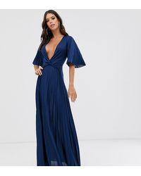 ASOS Asos Design Tall Twist Detail Pleated Kimono Maxi Dress - Blue