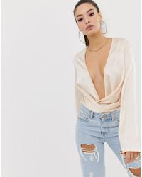 Missguided - Plunge Body In Satin - Lyst