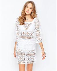 Gypsy 05 - Crochet Ivory Mini Dress - Ajara Ivory - Lyst