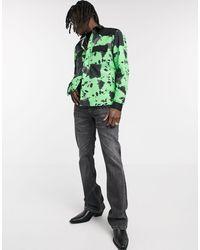 ASOS Зеленая Рубашка С Принтом И Вставками Из Искусственной Замши - Зеленый