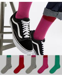 ASOS - Design Socks In Pinks & Greens With Contrast Welts 5 Pack - Lyst
