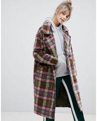 Pull&Bear Manteau croisé à carreaux - Multicolore