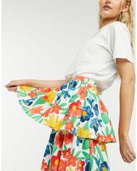 Glamorous Jupe mi-longue plissée à imprimé fleurs d'hiver - Multicolore