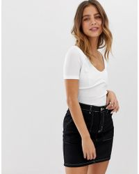 4d0eb2c6066 New Look Corset Detail Crop Top in White - Lyst