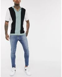 New Look Spray On Washed Jeans - Blue