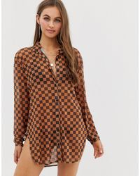 Motel Checkerboard Mesh Beach Shirt - Brown