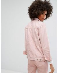 WÅVEN - Classic Denim Jacket With Tonal Embroidery In Pastel - Lyst