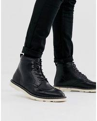 ASOS - Черные Ботинки Из Искусственной Кожи Со Шнуровкой И Белой Подошвой - Lyst