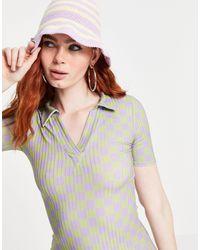 New Girl Order Curve - Vestito stile polo corto fasciante con motivo a scacchiera - Verde
