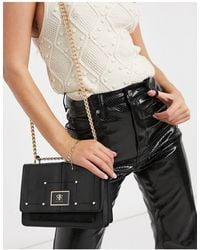 River Island Branded Satchel Bag With Gold Chain Strap - Black
