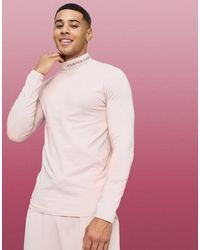 ASOS 4505 Muscle Long Sleeve T-shirt With Roll Neck - Pink
