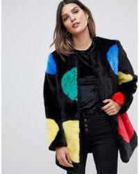 0c895cb4 Urbancode Faux Fur Duffle Coat in Black - Lyst