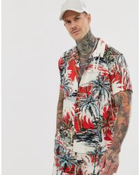Bershka - Short Sleeve Co-ord Shirt With Palm Tree Print In Red - Lyst