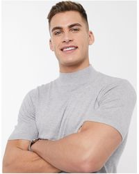 ASOS Knitted Turtle Neck T-shirt - Grey