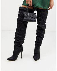 Missguided Satin Thigh High Boot - Black